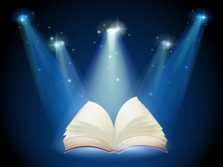 Illustration of a book with spotlights Illustration
