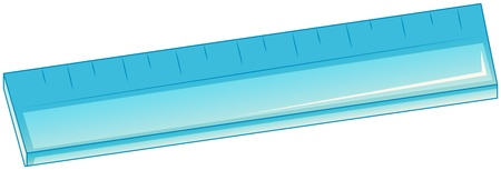 school things: Illustration of a blue ruler on a white background