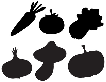 Illustration of the black colored vegetables on a white background Stock Vector - 19389430