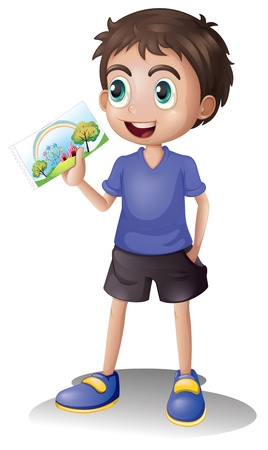 one little boy: Illustration of a young man holding a picture on a white background Illustration