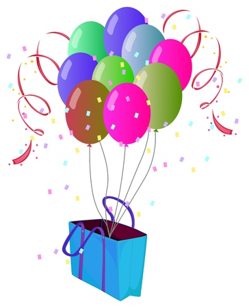 occassion: Illustration of a paper bag with balloons on a white background
