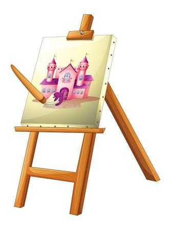 pallette: Illustration d'une peinture d'un château sur un fond blanc