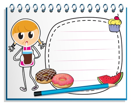Illustration of a notebook with a drawing of a girl with a juice on a white background Stock Vector - 19389449