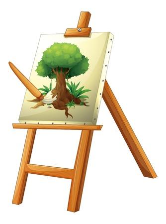 canvass: Ilustraci�n de una pintura de un �rbol sobre un fondo blanco Vectores