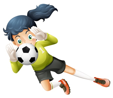 footwork: Illustration of a girl catching the soccer ball on a white background