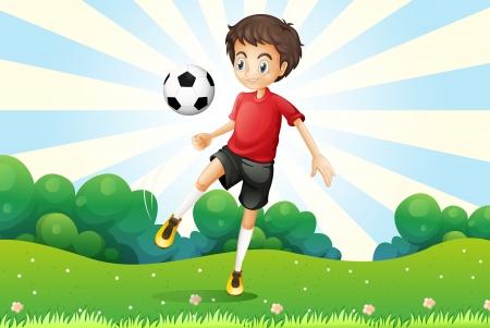 teammates: Illustration of a boy practicing soccer at the hilltop Illustration
