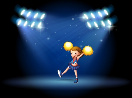 cheer leader: Illustration of a cheerleader performing on the stage with spotlights
