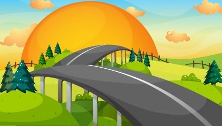 Illustration of a long road with a sunset Vector