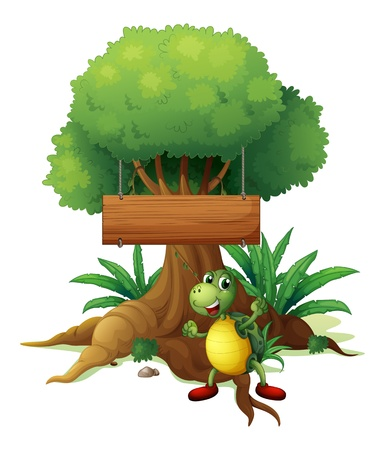 Illustration of a turtle under the big tree with a wooden signboard on a white background Stock Vector - 19389653