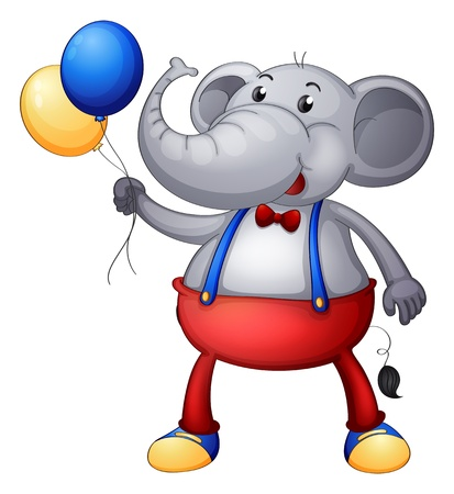 balloon animals: Illustration of an elephant with balloons on a white background