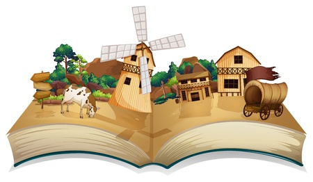 Illustration of a book with an image of a village and wooden arrowboards on a white background  Stock Vector - 19390165