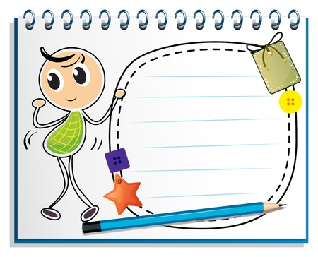 writing pad: Illustration of a notebook with a kid dancing at the cover page on a white background