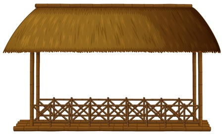 Illustration of a wooden floating cottage on a white background Vetores