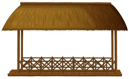 Illustrazione di una casa galleggiante di legno su uno sfondo bianco Vettoriali