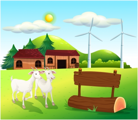 Illustration of the two goats near the wooden signboards Vector