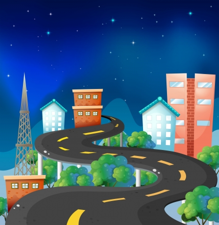 Illustration of a curve road in the city  Stock Vector - 19389689