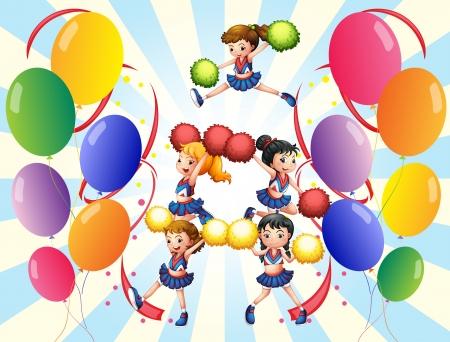 porrista: Ilustración del pelotón que anima en medio de los globos en un fondo blanco