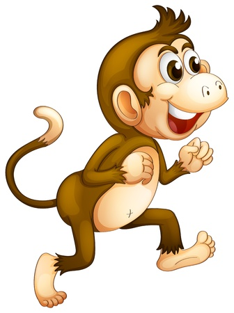running nose: Illustration of a monkey running on a white background