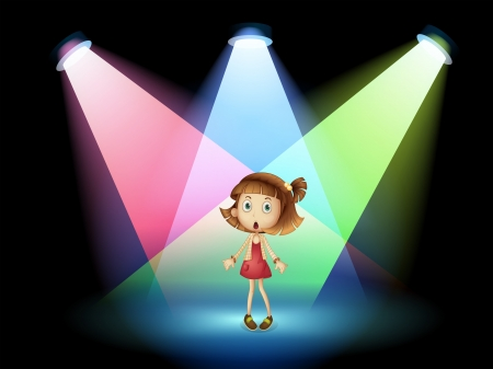 actress: Illustration of a stage with a young actress