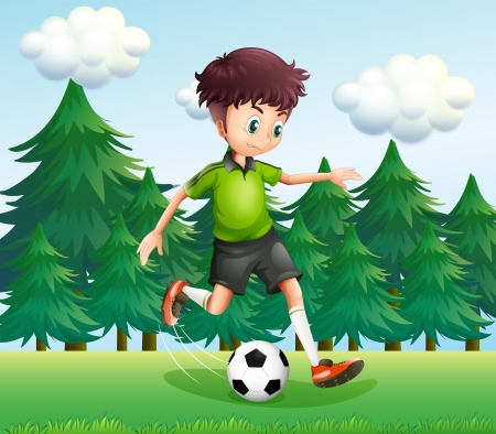 Illustration of a boy kicking a soccer ball near the pine trees Vector