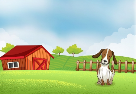Illustration of a puppy in the farm