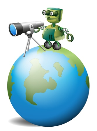 Illustration of a robot with a telescope above the globe on a white background Stock Vector - 19389716