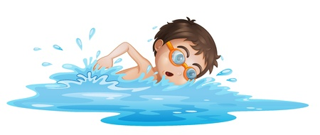 young boy in pool: Illustration of a boy with yellow goggles on a white background