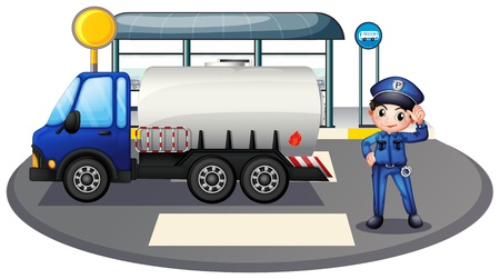 enforcer: Illustration of a policeman with a vehicle at the road on a white background