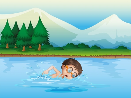 Illustration of a boy swimming at the river Illustration