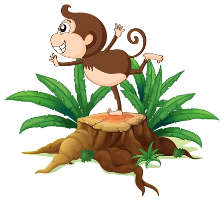 cutting grass: Illustration of a young monkey playing above the stump on a white background