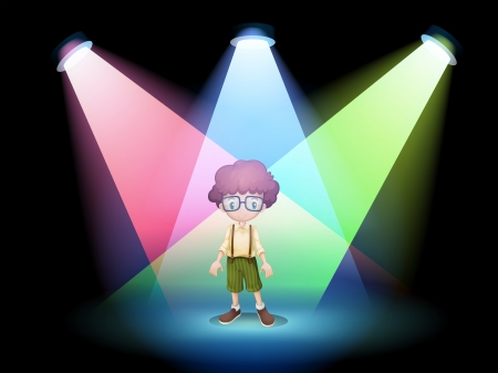 centerstage: Illustration of a boy wearing an eyeglass standing on the stage with spotlights Illustration