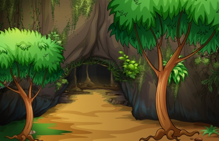 shrubs: Illustration of a cave at the forest Illustration