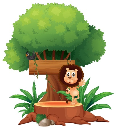 Illustration of a lion and a bird under the tree with an empty sign on a white background Stock Vector - 19389841