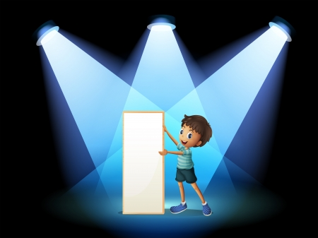 centerstage: Illustration of a boy holding an empty board with spotlights