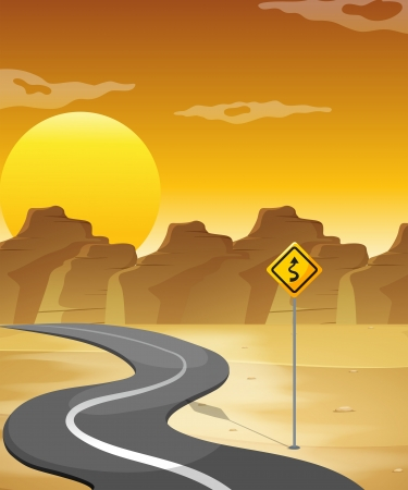 desert road: Illustration of a curved road in the desert
