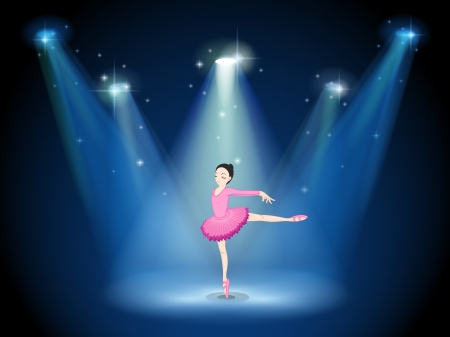 stage performer: Illustration of a lady in pink dancing ballet with spotlights
