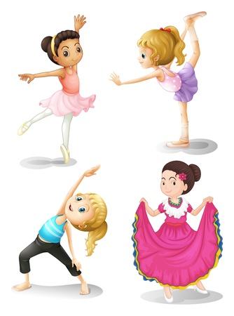 ballet: Ilustraci�n de las chicas en traje de diferentes deportes sobre un fondo blanco