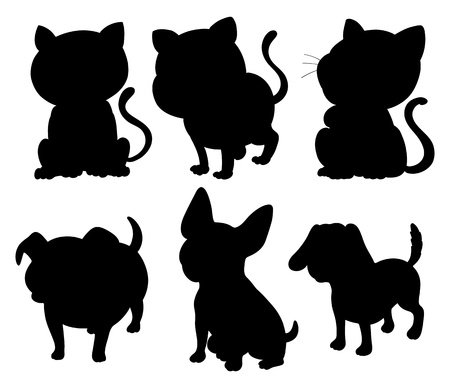 Illustration of the silhouettes of cats and dogs on a white background  Vector