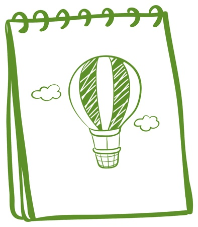 Illustration of an eco-friendly notebook with a drawing of a hot air balloon on a white background Stock Vector - 19389502