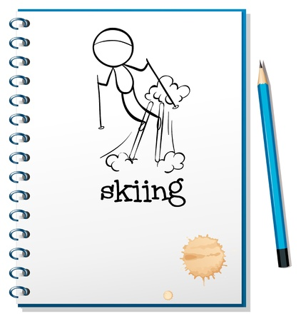 Illustration of a notebook with a drawing of a boy skiing on a white background Stock Vector - 19389440