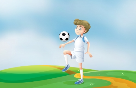 Illustration of a soccer player practicing Vector