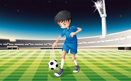 outdoor seating: Illustration of a soccer player in a blue uniform Illustration