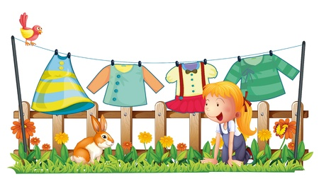 Illustration of a girl playing with the bunny at the garden with clothes on a white background  Vector