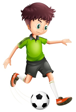 Illustratie van een jongen met een groen shirt voetballen op een witte achtergrond