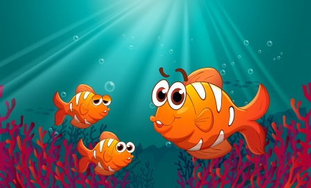 Illustration of the three fishes under the sea with corals