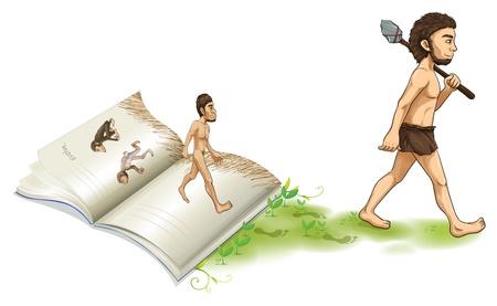 hombre flaco: Ilustración de una historia de la evolución del hombre sobre un fondo blanco