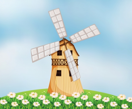 Illustration of a barn with a windmill Vector