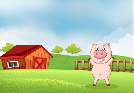 rootcrops: Illustration of a pig in the farm with a barn