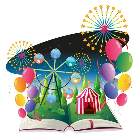 nonfiction: Illustration of a book with an image of a carnival with balloons on a white background