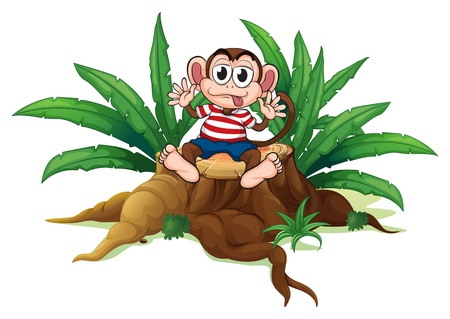 illegal logging: Illustration of a monkey sitting above the chopped wood on a white background